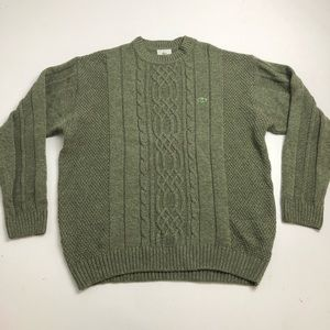 New Lacoste Green Wool Sweater Mens Large